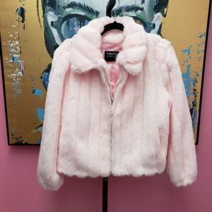 Fabulous Furs Light Pink Faux Fur Jacket